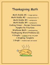 thanksgiving math riddles fractions word problems graphing