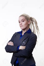 Arm Cross - business person with dreadlock hair with cross arms stand on