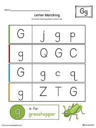letter g uppercase and lowercase matching worksheet color