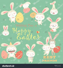 collection easter bunnies colorful eggs stock vector 362520605
