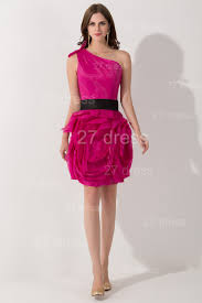 modern one shoulder short cocktail dress flowers knee length