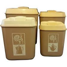 beige cream plastic kitchen canister set of 4 rooster sifter from