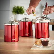 Red Kitchen Canisters Sets by Kitchen Canister Set Red Stainless Steel W Glass Lid 3 Piece Sugar