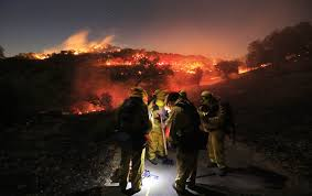 California Wildfire Dateline by Firefighters Battle Unusual Winter Wildfire In Northern California