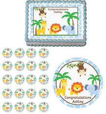 safari cake toppers jungle blue safari animals baby shower edible birthday party cake
