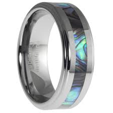 men s wedding bands tungsten ring with abalone shell inlay mens wedding ring band size