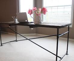 diy pipe computer desk top 43 class galvanized pipe table base black plumbing furniture diy