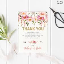 boho baby shower thank you card pink gold dream catcher