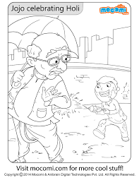 jojo holi colouring page colouring pages for kids mocomi