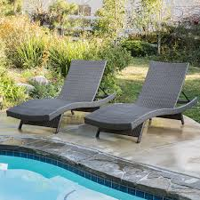 Lounge Chairs For Patio Amazon Com Set Of 2 Olivia Outdoor Grey Wicker Chaise Lounge
