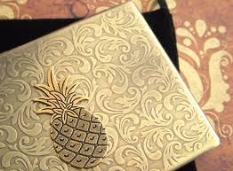 Vintage Business Card Case Brass Pineapple Cigarette Case Oversized Business Card Holder