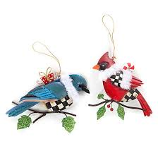 mackenzie childs winter bird ornaments set of 2