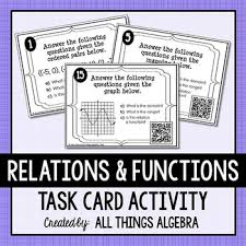relations functions domain and range task cards by all things
