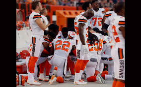 Cleveland Browns Flag Browns Players Kneel In Prayer During National Anthem Naples Herald