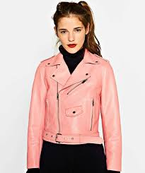 zara pink faux leather short biker jacket with zips m la s