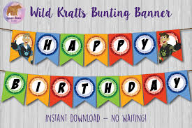 wild kratts banner wild kratts bunting banner wild kratts party