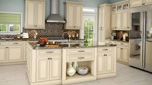 off white kitchen cabinets with antique brown granite decorating