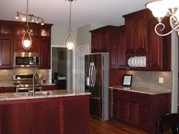 Popular Oak Cabinets With Dark Wood Floors Dark Oak Kitchen Red - Kitchen backsplash ideas dark cherry cabinets