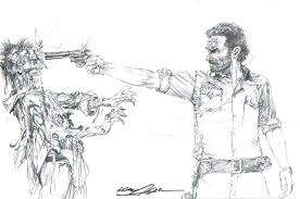 walking dead sheriff rick grimes shoots zombie print signed neal