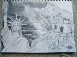 statue of liberty and great wall of china by valenk on deviantart