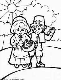 thanksgiving day printable coloring pages and pilgrim and indian