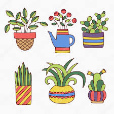 Cute Plant by Cute Plants In Flower Pots Doodles Collection U2014 Stock Vector