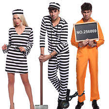 Womens Prisoner Halloween Costume Cotton Blend Convict Prisoner Inmate Costumes Women Ebay
