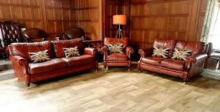 Chestnut Leather Sofa F50 1037 Victorian Style Chestnut Tan Brown Leather Suite 3 U0026 2
