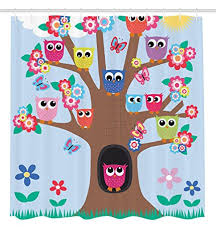 Owl Fabric Shower Curtain Amazon Com Owl Decor Ambesonne Cute Owls On Tree Bff Best Friends
