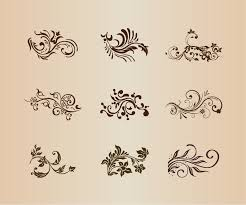 collection of vector design floral ornament elements free vector