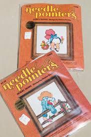 70s vintage needlepoint kits of sue sam sunbonnet babies