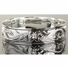sterling silver engravable jewelry sterling silver scroll plumeria engraving hawaiian heirloom bangle