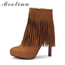 Brown Fringe Ankle Boots Popular Boots Fringe Ankle Boot Buy Cheap Boots Fringe Ankle Boot