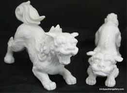 white foo dogs fitz floyd foo dog shi figurines set