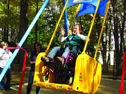 handicap swing ribbon cutting held for handicap accessible liberty swing news