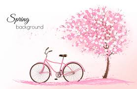 pink tree with bike background vector 02 vector