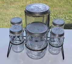 antique kitchen hoosier 6 glass jar canister set coffee tea s u0026p
