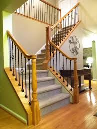 Wood Interior Handrails Wood Stairs And Rails And Iron Balusters