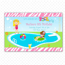 pool party birthday invitation for printable