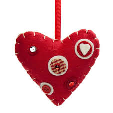 Fabric Heart Decorations Red Fabric Hanging Heart With Button Detail 10cm Decorations