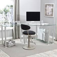 L Shaped Modern Desk by White Glass Desk Lshape Desk In Powder Coating White With White