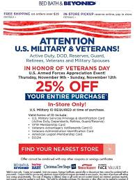 Bed Bath Beyond In Store Coupon Bed Bath And Beyond U S Military U0026 Veterans 25 Off Entire