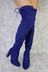 Cobalt Blue High Heels Royal Blue Round Pointy Toe Thigh High Single Sole Chunky High