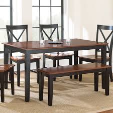 steve silver kingston 6 piece dining room set in oak u0026 black
