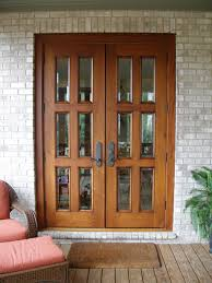 Patio Doors Wooden Exterior Brown Wooden Patio Doors With Black Metal Handles