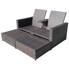 Patio Chair With Ottoman 3pc Rattan Wicker Chaise Lounge Chair Patio Furniture Set Pool W