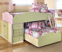 Bunk Bed Bedroom Set Furniture Doll House Loft Bed With Built In Dresser And