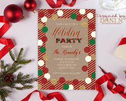 holiday invitation red green and gold christmas party