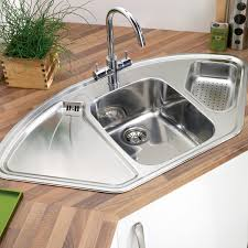 stainless corner sink lavella corner kitchen sink with right hand double bowl hammered