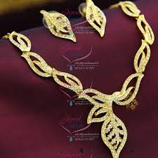 gold tone necklace set images Ne9447 22ct gold plated diamond finish necklace with ear rings JPG